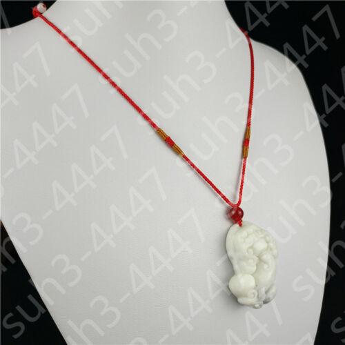 Chinois Blanc Naturel Dragon de Jade Collier Pendentif PiXiu Amulette charme bijoux