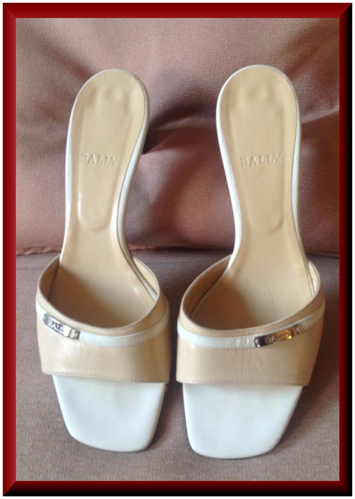 Bally,  femmes Naked Couleur Leather medium high heel, US 8 Mules r hot again