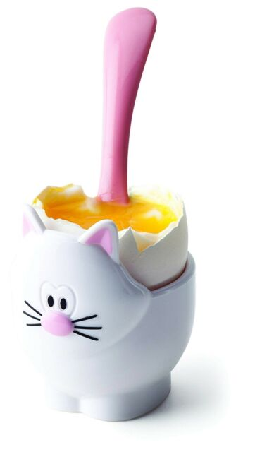 Joie Kitchen Gadgets Cat egg cup and spoon, Mixed, Black And White, 5x5x11 cm
