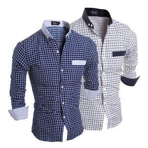 Fashion-Men-039-s-Long-Sleeve-Casual-Shirt-Slim-Fit-Formal-Dress-Shirts-Tops-Stylish