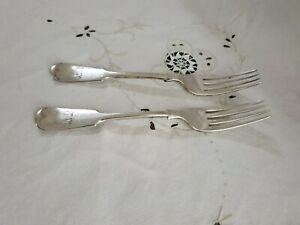 Cutlery Vintage Dinner Fiddle Forks x 2 EPNS Gilbert & Spurrier A1
