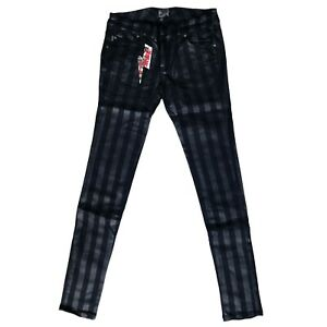 Tripp NYC Gothic Horror Punk 80s Black Striped Skinny Jeans Pants Size 11 / 30