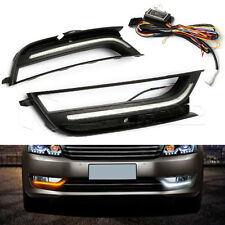 2X White+Yellow LED Daytime Running Light DRL For VOLKSWAGEN PASSAT 2011-2016