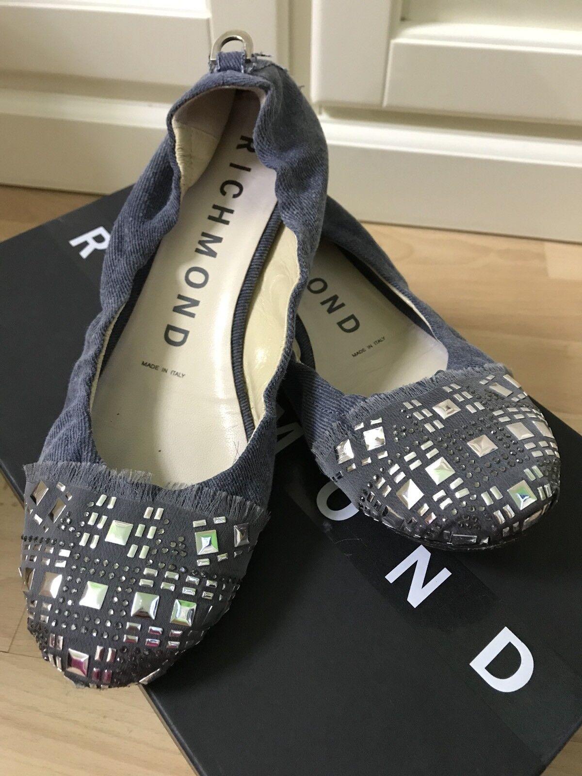 ♥ John RICHMOND ♥ Ballerinas Slipper Pumps  Denim   Leder D.G.38 w.NEU  | Online-Shop