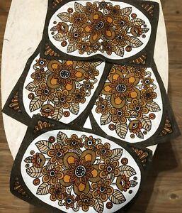 Vintage-Linen-Placemats-Mod-Floral-Brown-Orange-70-039-s-Flowers-set-of-4