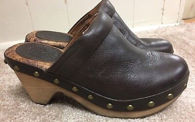 Lucky Brand Womens Brown Leather Mules