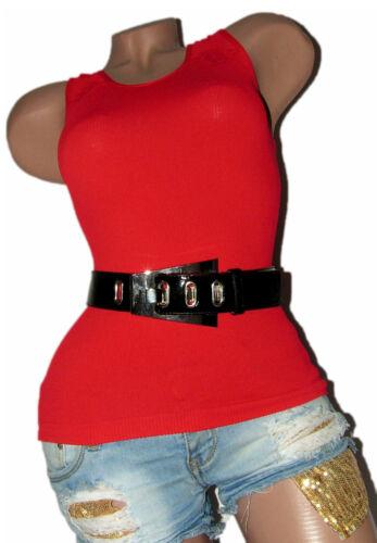 Damen Jeansgürtel Hüftgürtel Lack PU-Leder Schwarz silberne Schnalle