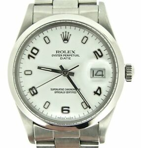 Mens-Rolex-Date-Stainless-Steel-Watch-Domed-Bezel-White-Arabic-Dial-15000