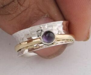 Amethyst-Stone-Solid-925-Sterling-Silver-Spinner-Ring-Meditation-Statement-Ring