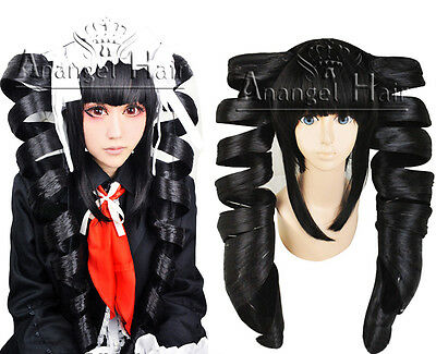 Danganronpa Celestia Ludenberg Cosplay Wig Black Spiral Curl Long Synthetic Hair