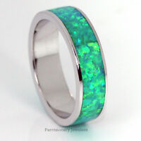Silver Opal Ring Green W Blue Fire 925 Sterling Stackable Eternity Band 6mm