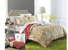 Chic Home 4 Piece Paisley Global Inspired Vedara Reversible Quilt, Queen, Gold