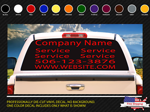 Details About Rear Window Vinyl Decal Personalized Business Signs Car Vehicle