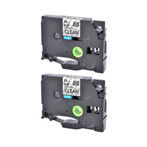 2PK Fits Brother P-Touch TZ-131 TZe-131 Black on Clear Label Tape PTH110 12mm