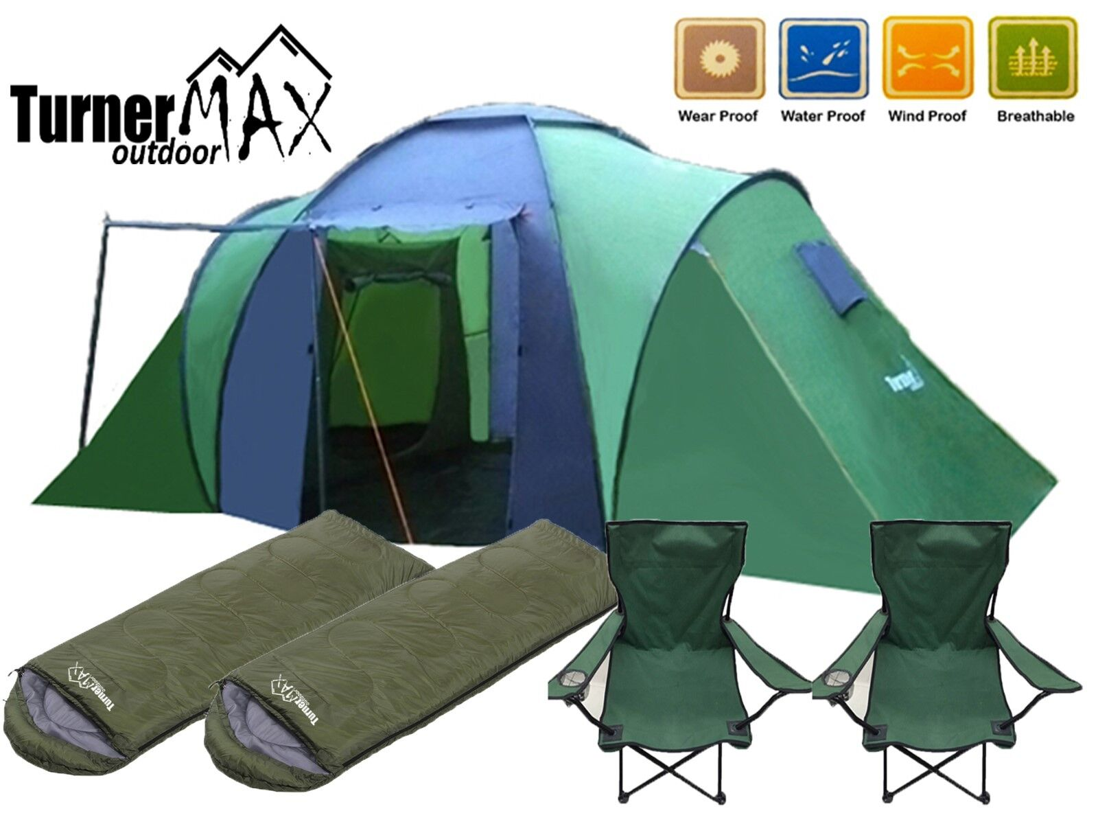 Trijan de plein air 4 6 Person Camping Hiking Tent with Two Sleeping sacs & Chairs