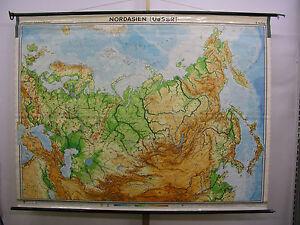 Schulwandkarte Europa Russia Ukraine North Asian Half World Map 1965