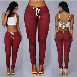 Womens-Cargo-Pants-High-Waist-Jogger-Skinny-Trousers-Pockets-Sweatpants-US