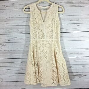 Lauren-Conrad-Womens-Lace-Dress-Size-12-Cream-Lined-Sleeveless-Fit-and-Flare