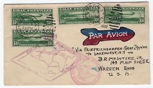 C13-X-FOUR-STAMPS-McIntyre-Hand-Painted-ACE-Flown-Zeppelin-Cover