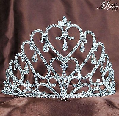 Hearts Tiaras Hair Combs Clear Rhinestones Crown Wedding Pageant Prom Headpieces