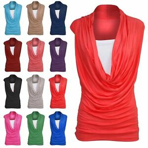 96dd0827b1568 Image is loading Womens-Ladies-Ruched-Gathered-Cowl-Neck-Vest-Sleeveless-