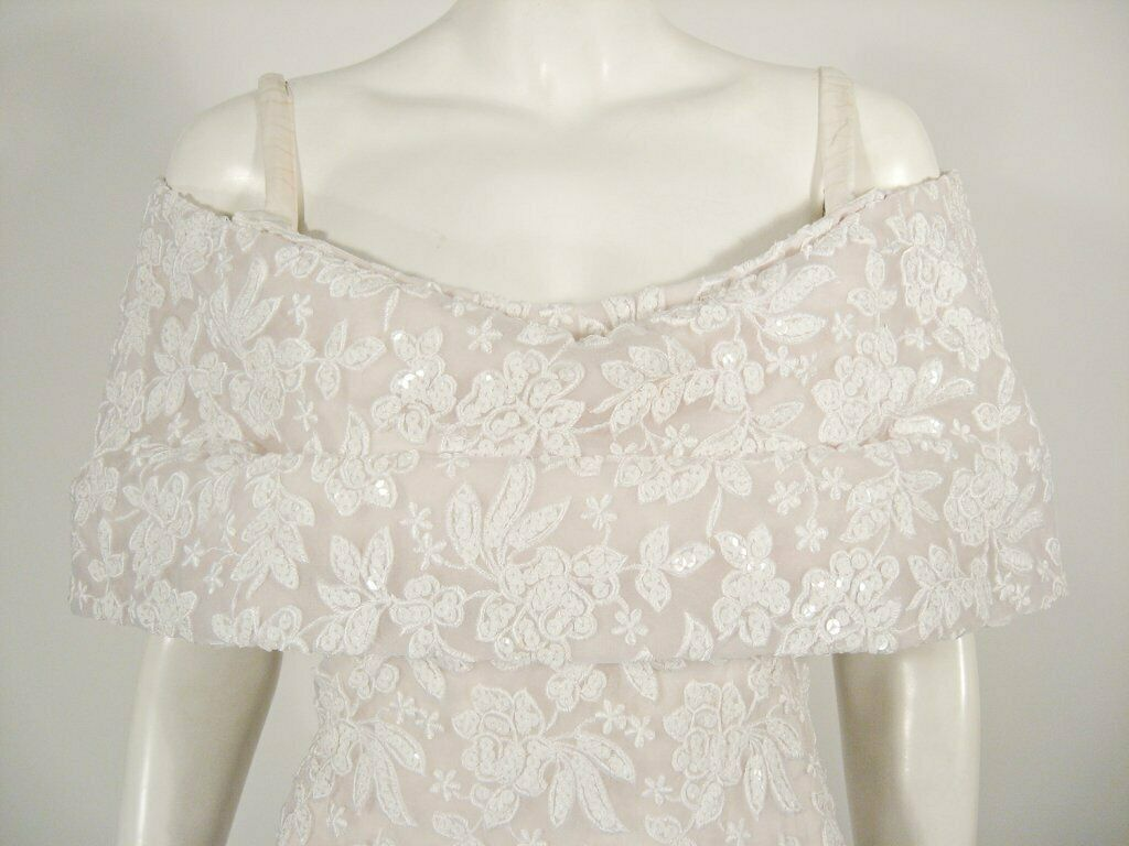 ARNOLD SCAASI White Floral Wedding Gown with Sequ… - image 2