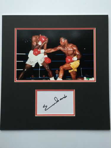 Chris Eubank Hand Signed Photo Mount Display Boxing World Champion.