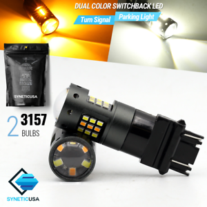 2 x 3157 Dual Color Switchback White//Amber Yellow 33-LED Turn Signal Light Bulbs