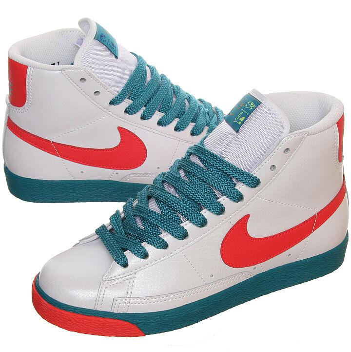 317808-161 Femme Nike Blazer High blanc/Red/Gold/Emerald New In Box