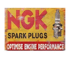 NGK-Spark-Plugs-Vintage-Advertising-Sign-Garage-Shed-Plaque-Classic-Car-Engine