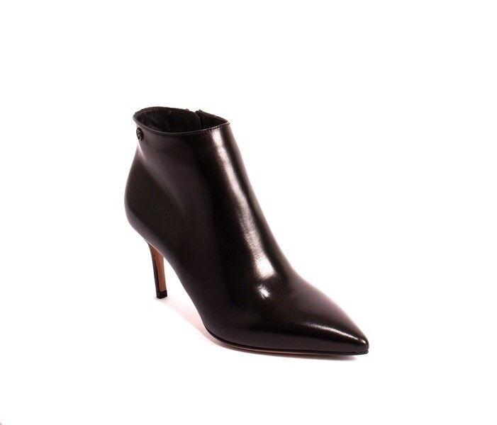Nando Muzi 372a Black Leather Pointy Toe Stiletto Heel Ankle Boots 37 / US 7