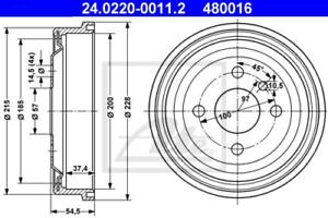 2x Bremstrommel für Bremsanlage Hinterachse ATE 24.0220-0011.2
