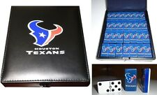 Houston Texans Spirit Dominoes Game Set Double Six Domino Leather Case Man Cave