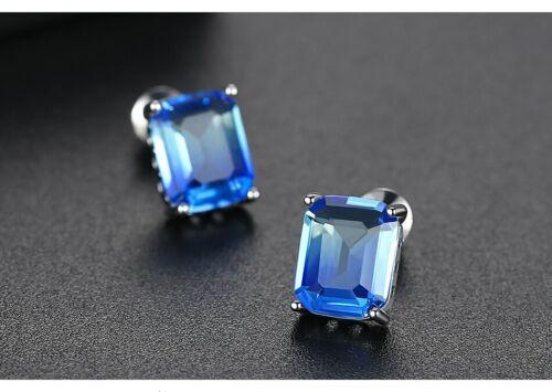 ZARD Emerald-Cut deux tons bleu zircone cubique Boucles d/'oreilles FINE ARGENT PLAQUE