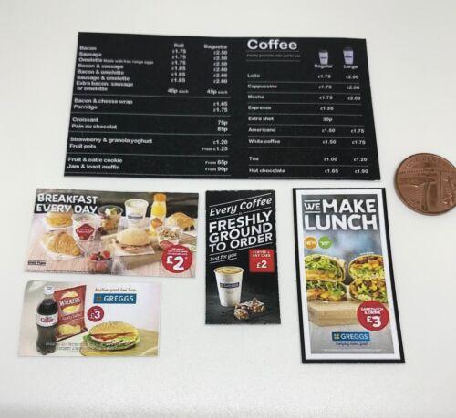 Casa de muñecas en miniatura panadería carteles /& Menú DD047 artículos adicionales libre de envío y manipulación