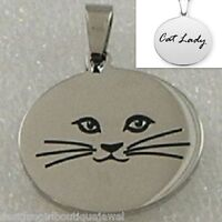 Cat Lady Necklace Stainless Steel Pendant Silver Kitty 18 Chain Included