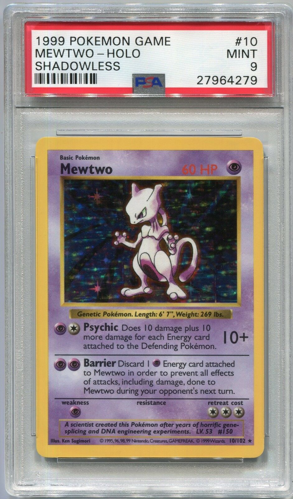 Pokemon Card Unlimited Shadowless Mewtwo Base Set 10 102, 102, 102, PSA 9 Mint 4aba19