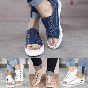 US-Women-Open-Toe-Casual-Flats-Sneaker-Ladies-Slip-Loafers-Shoes