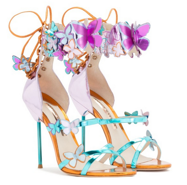 Fashion Donna Butterfly High Heels Open Toe Lace up Sandals Stilettos Shoes Ch8