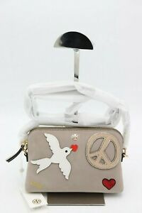 NWT-Tory-Burch-Peace-Embellished-Mini-Gray-Suede-Crossbody-Clutch-Bag-New-275