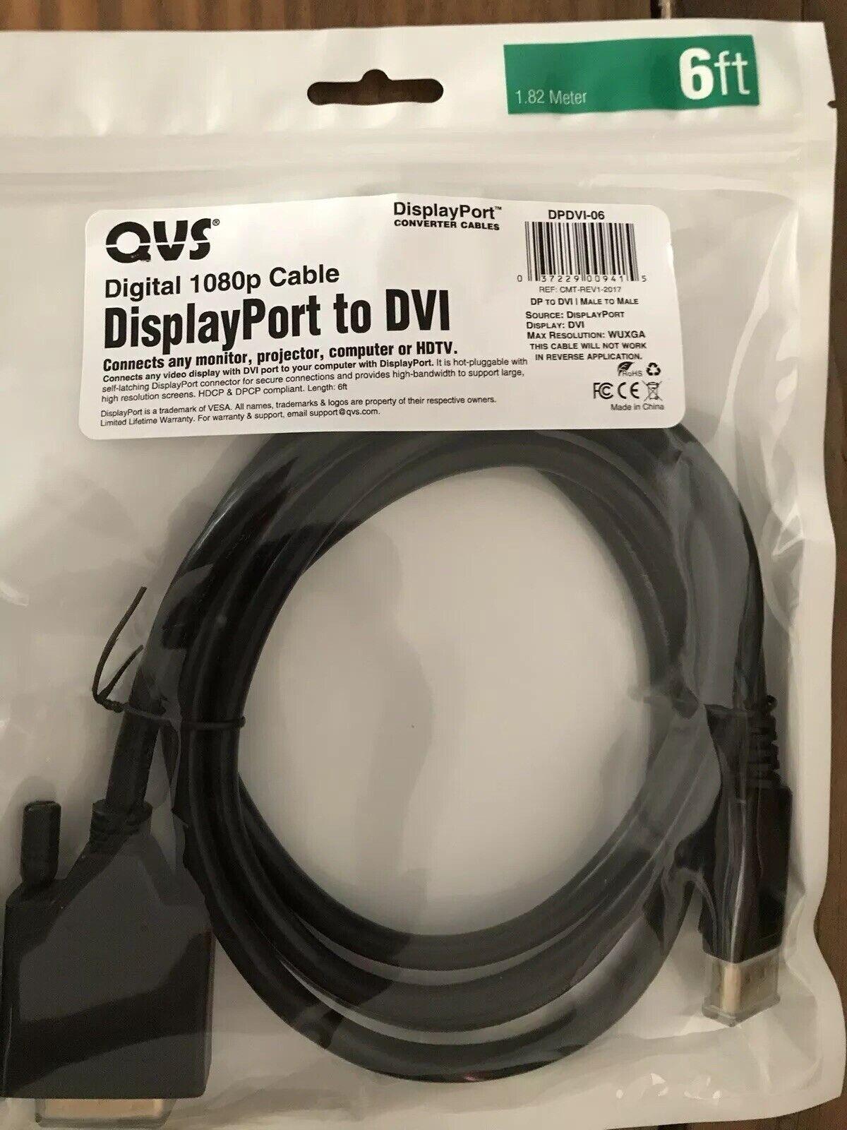QVS DPDVI-06 6 DisplayPort to DVI Digital