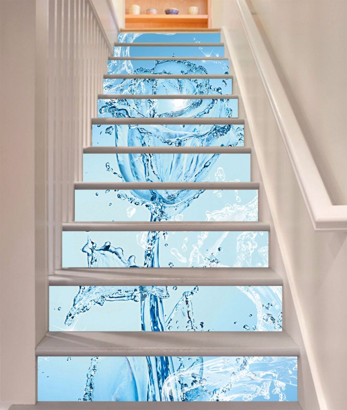 3D bluee pink 604 Stair Risers Decoration Photo Mural Vinyl Decal Wallpaper UK