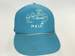 5a22f276a0931 Vintage 80s Hawaiian Island map Blue Maui Hawaii Trucker Hat Cap ...