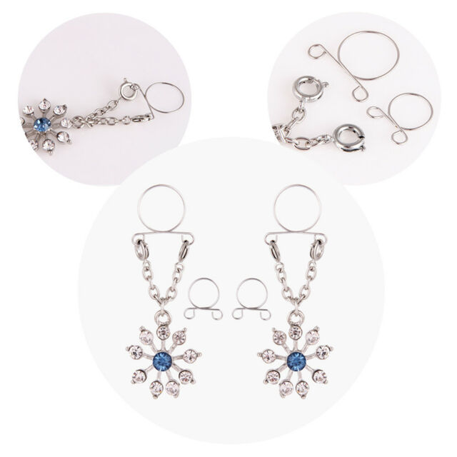 Adjustable Stainless Steel Faux Jewelry Screw Clip on Body Piercing Rings Nippl/é Clamps with Metal Chain for 680HJ