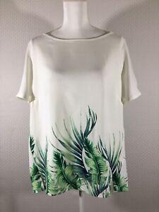 6e0699d9c1f29a Ava   Viv Womens Blouse Size 1X White Green Leaf Print Short Sleeve ...