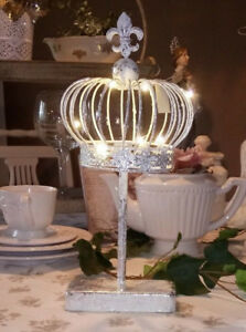 Deco-Crown-on-base-Metal-Lily-Silver-LED-Shabby-Vintage-Landhaus-Brocade-15in
