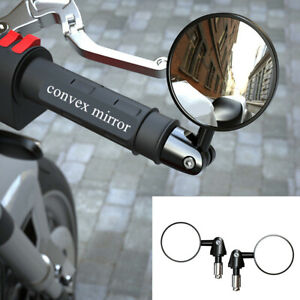 Left+Right Motorcycle Handle Bar End Rearview Side Rear View Mirror 22mm 7/8in