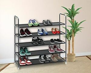 5 10 Tier Shoe Rack Wall Tower Cabinet Storage Organizer Black Home Holder Shelf