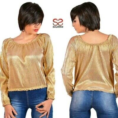 Blusa T-Shirt Donna Maglia PRINCESSE C034 Multicolore Maniche Corte Tg Unica S//M