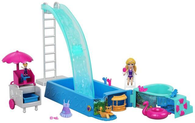 Polly Pocket Splashtastic Pool Surprise Active Doll Playset Mattel